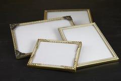 Пустые картинные рамки, золото Стоковые Фотографии RF