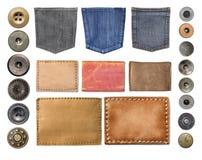 Пустые кожаные ярлыки джинсов Стоковые Изображения