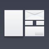 Пустые конверт, визитная карточка и бумага Стоковое Изображение
