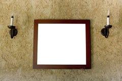 Пустые коричневые внутренние окна и картинная рамка Стоковое Изображение RF