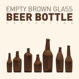 Пустые коричневые стеклянные пивные бутылки Стоковая Фотография