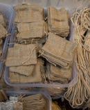 Пустые маленькие сумки сделанные linen холста Стоковое Изображение RF