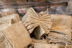 Пустые маленькие сумки сделанные linen холста Стоковые Фото
