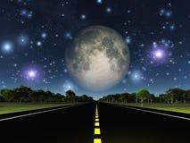Пустые дорога и звезды Стоковые Изображения