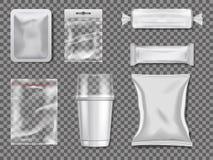 Пустые пакеты пластмассы и прозрачности Изображения модель-макета вектора бесплатная иллюстрация