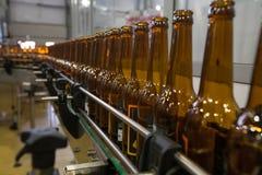 Пустые пивные бутылки, на конвейерной ленте, Binding винзавод Стоковые Фото