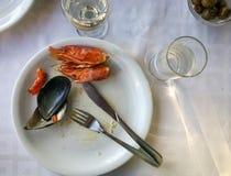 Пустые плиты с обмылками еды после обеда Стоковые Изображения RF