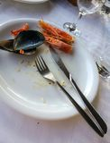 Пустые плиты с обмылками еды после обеда Стоковые Фотографии RF