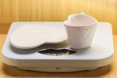 Пустые поддонник плиты и чашка кружки на веся масштабе Стоковое фото RF
