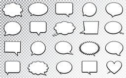 Пустые пустые пузыри речи Изолированный на прозрачной предпосылке также вектор иллюстрации притяжки corel Стоковые Фото