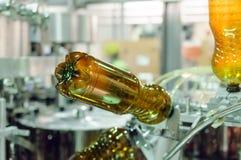 Пустые пластичные бутылки ЛЮБИМЧИКА в машине завалки Стоковая Фотография RF
