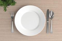 пустые плита, ложка, вилка и нож бесплатная иллюстрация