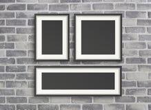 Пустые рамки на серой стене birck Стоковое Изображение RF