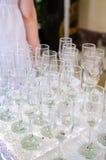 Пустые стекла шампанского стоковые фотографии rf