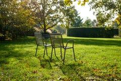 Пустые стулья металла среди свежей растительности в парке Стоковая Фотография RF