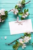 Пустые цветки бирки и яблони на предпосылке бирюзы деревянной Стоковые Фотографии RF