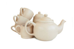 Пустые чашки и чайник Стоковые Изображения