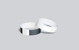 Пустые черно-белые бумажные модель-макеты wristbands Стоковая Фотография