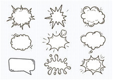 Пустые шуточные ядровые пузыри речи установили изолированный на белой иллюстрации вектора предпосылки облака с местом для текста Стоковые Изображения RF