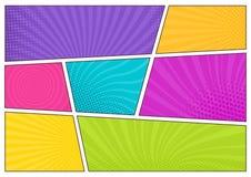 Пустые яркие покрашенные шаблоны предпосылки, декоративные фоны с поставленной точки текстурой или коробки с точками и лучи для бесплатная иллюстрация