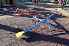 Пустые seesaws для детей в парке Стоковое фото RF