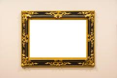 Пустым изолированное музеем изобразительных искусств крася украшение рамки внутри помещения огораживает Стоковое фото RF