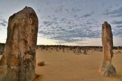 Пустыня башенк на восходе солнца Национальный парк Nambung cervantes Западное Австралия australites Стоковое Изображение