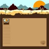 Пустыня, горы, кактусы и tumbleweed Стоковое фото RF