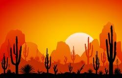 Пустыня, заход солнца иллюстрация штока