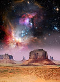 Пустыня и звезды Стоковые Фото