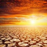 Пустыня и красный заход солнца стоковая фотография rf