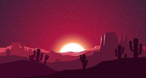 Пустыня на иллюстрации захода солнца иллюстрация вектора