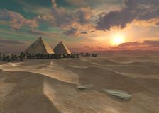 Пустыня песка, панорамы ландшафта пустыни Стоковая Фотография RF