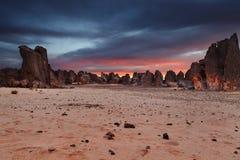 Пустыня Сахары, ` Ajjer Tassili n, Алжир Стоковые Фотографии RF