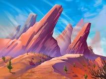 Пустыня с фантастическим, реалистическим и футуристическим стилем иллюстрация штока
