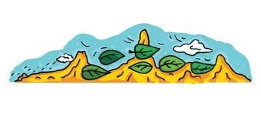 Пустыня шаржа и иллюстрация ландшафта гор Стоковое Изображение RF