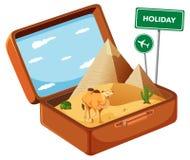 Пустыня Egypy в чемодане иллюстрация вектора