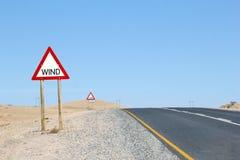 Пустыня Luderitz предупредительного знака ветра, Nambia Стоковое Изображение