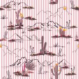 Пустыня Summersweety с кактусом и горой цветет безшовный p бесплатная иллюстрация