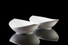 2 пустых белых шара керамики Стоковые Фото