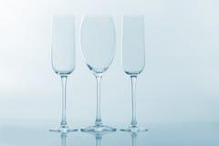 3 пустых бокала на светлой предпосылке Стоковая Фотография