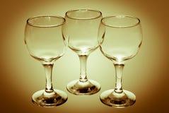 3 пустых бокала Стоковое Изображение