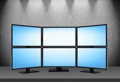 6 пустых голубых экранов Стоковая Фотография RF