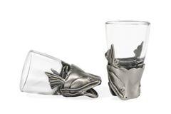 2 пустых декоративных стекла для водочки Стоковая Фотография