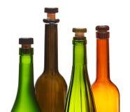 4 пустых закрытых бутылки вина закрывают вверх Стоковая Фотография RF