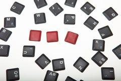 3 пустых красных кнопки на составленной клавиатуре Стоковые Изображения RF