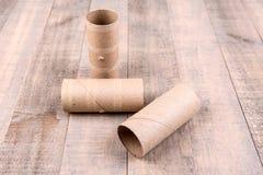 3 пустых крена туалетной бумаги Стоковое Фото