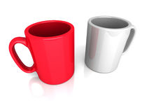 2 пустых кружки кофе или чая Примите концепцию пролома Стоковые Фото