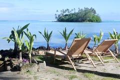 2 пустых места пляжа на лагуне Muri в Острова Кука Rarotonga Стоковая Фотография RF