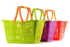 3 пустых пластичных корзины для товаров на белизне Стоковая Фотография RF
